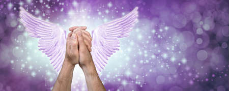Angelic Prayers Purple Sparkle Message Banner - male hands clasped in prayer position with pale purple lilac angel wings behind against a purple blue sparkling bokeh background with copy space