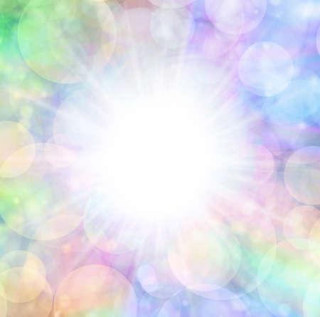 Multicoloured white flash bokeh background - large white star burst centre surrounded by rainbow coloured bokeh effect border frame ideal for surprise celebration messages