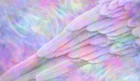 Multicoloured Ethereal Angelic wing message background - section of a feathered angel wing on a wispy energy field pink blue green pale background with space for copy Imagens