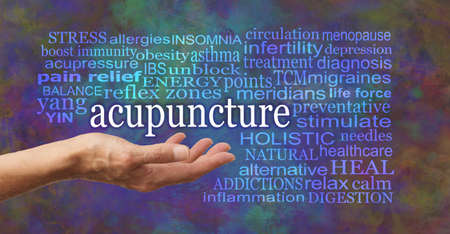 Words associated with the benefits and uses of Acupuncture - female open palm hand with the word acupuncture floating above surrounded by a relevant word cloud against a rustic modern background