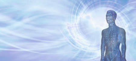 Acupuncture Model Energy Meridians Message Banner - a flowing blue vortex energy background with half an acupuncture dummy in a blue colour showing meridians and space for copy