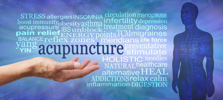 Words associated with the benefits and uses of Acupuncture - female open palm hand with the word acupuncture floating above surrounded by a relevant word cloud against a rustic modern background Standard-Bild