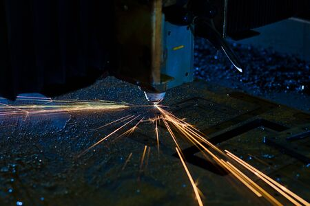Laser cutting with sparks close up Stock Photo - 13282251