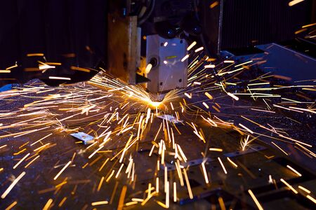 Laser cutting with sparks close up Stock Photo - 13281945