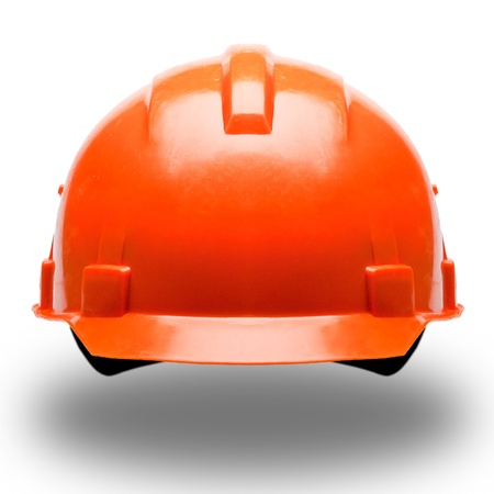orange construction helmet on white background Stock Photo