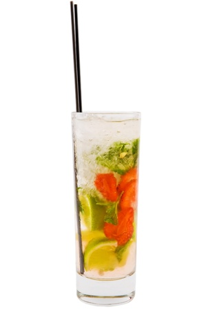 A delicious refreshing mojito with strawberry, lime and mint Stock Photo