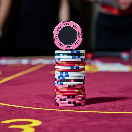 tower from chips on the poker table