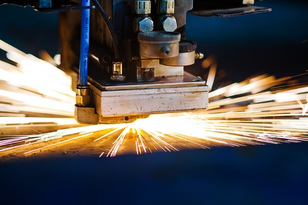 Laser cutting with sparks close up Stock Photo - 13281986
