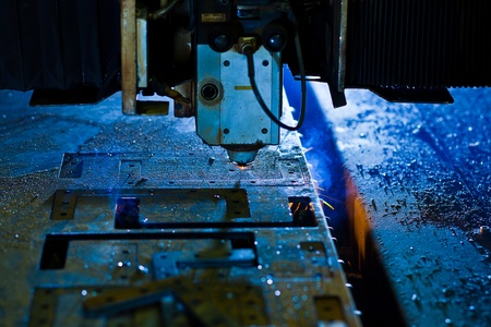 Laser cutting with sparks close up Stock Photo - 13282264