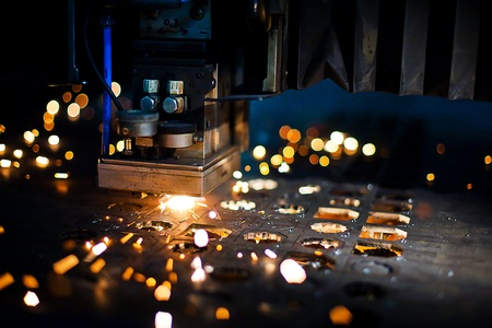 Laser cutting with sparks close up Stock Photo - 13281992