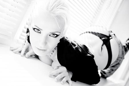 sexy woman posing  photo in high key Stock Photo