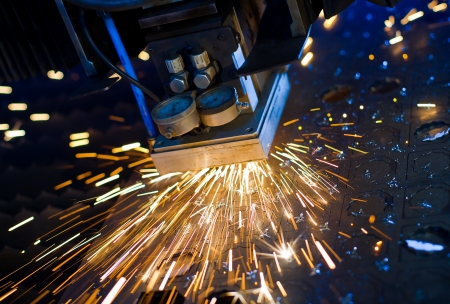Laser cutting with sparks close up Stock Photo - 17910135