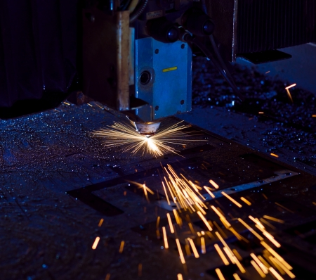 Laser cutting with sparks close up Stock Photo - 17910117