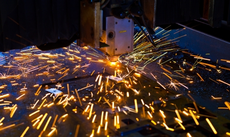 Laser cutting with sparks close up Stock Photo - 17910337
