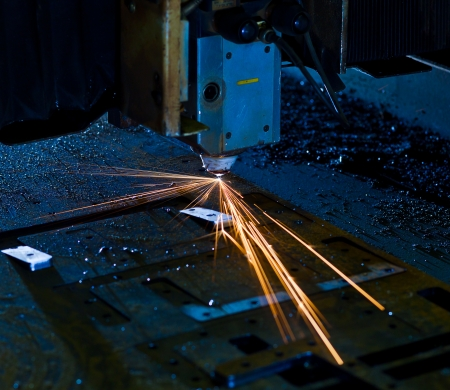 Laser cutting with sparks close up Stock Photo - 17910161