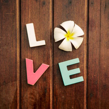 word love made up of colorful wooden letters with white and yellow frangipani flower instead of letter O on a wooden table. February 14, Valentine photo