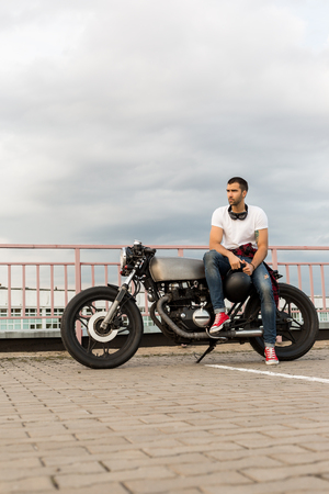 Handsome Rider Man With Beard And Mustache Posing While Take