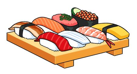 Vector illustration of one serving of sushi