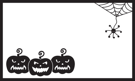 sinister: Halloween vector card template. Three sinister pumpkins and spider Illustration
