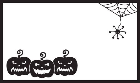 Halloween card template with three pumpkins and spider