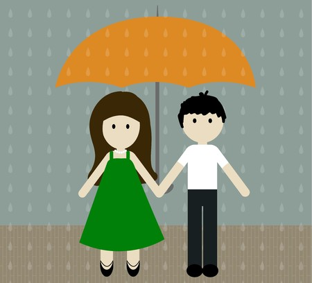 Girl and boy with umbrella in the pouring rain. Vector illustration. Boy and girl in a beautiful dress holding hands in the summer rain