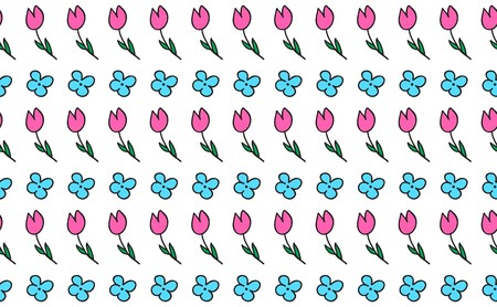 Floral vector decor element, repeating pattern. Can be used as a frame. Pink and blue flowers drawn by hand. Cartoon fun style.