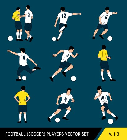 Vector silhouettes of football players on a dark background. Graphic simplified style. Different silhouettes of football players and football referee. Football vector set. Vector Illustration