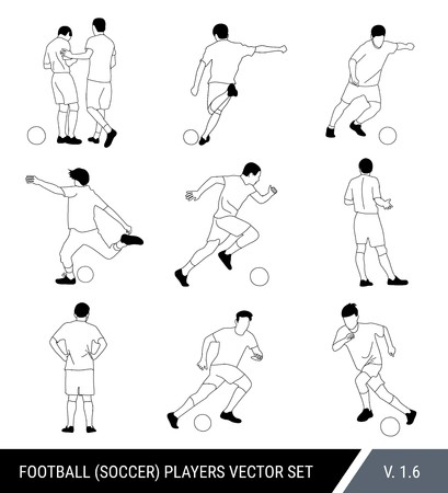 Vector black outline silhouettes of football players on white background.Graphic simplified style. Different silhouettes of football players and football referee. Football vector set.