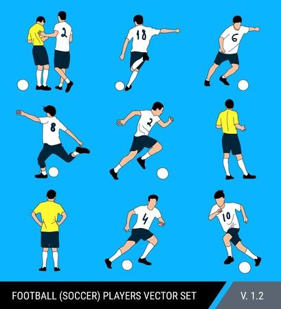 Figuras vectoriales de jugadores de fútbol sobre un fondo azul brillante. Juez y jugadores, diferentes poses, conjunto de vectores. El jugador de fútbol golpea la pelota, corre con la pelota, el juez multa al jugador. Ilustración de vector