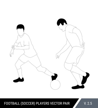 Two football opponents from different teams are fighting for the ball. Soccer players, the defender and attacker fight for the ball.  Outline silhouettes, vector illustration. Stok Fotoğraf - 117266441