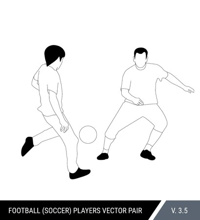 Two football opponents from different teams are fighting for the ball. Soccer players are fighting for the ball. Outline silhouettes, vector illustration. Can be used as a coloring books.
