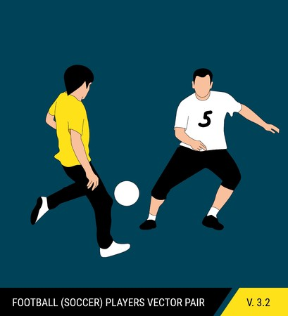 Two football opponents from different teams are fighting for the ball. Soccer players are fighting for the ball. Colorful vector illustration. Stok Fotoğraf - 117266552