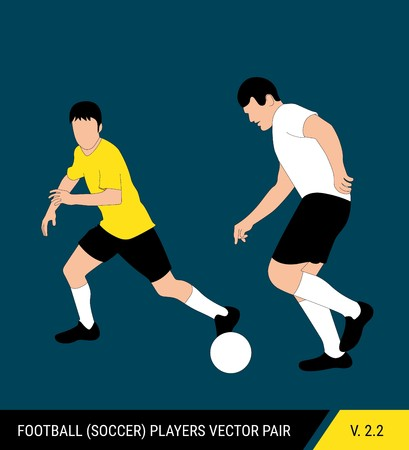 Two football opponents from different teams are fighting for the ball. Soccer players, the defender and attacker fight for the ball. Colorful vector illustration. Stok Fotoğraf - 117266553