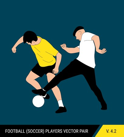 Two football opponents from different teams are fighting for the ball. Soccer players are fighting for the ball. Colorful vector illustration.