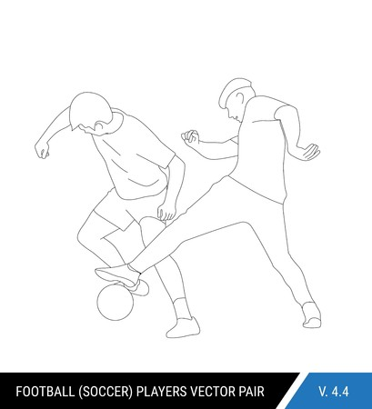 Two football opponents from different teams are fighting for the ball. Soccer players are fighting for the ball. Outline silhouettes, vector illustration. Can be used as a coloring books. Stok Fotoğraf - 117266558