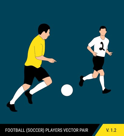 Two football opponents from different teams are fighting for the ball. Soccer players, the defender and attacker fight for the ball. Colorful vector illustration. Stok Fotoğraf - 117266559