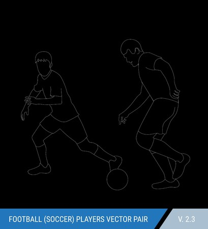 Two football opponents from different teams are fighting for the ball. Soccer players, the defender and attacker fight for the ball.  Outline silhouettes, vector illustration. Stok Fotoğraf - 117266561