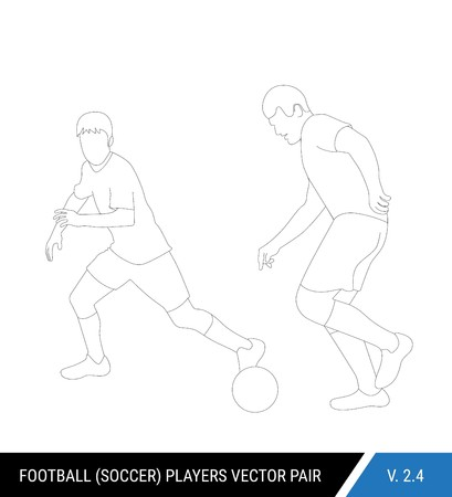 Two football opponents from different teams are fighting for the ball. Soccer players, the defender and attacker fight for the ball.  Outline silhouettes, vector illustration.