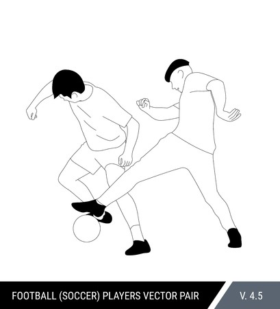 Two football opponents from different teams are fighting for the ball. Soccer players are fighting for the ball. Outline silhouettes, vector illustration. Can be used as a coloring books. Stok Fotoğraf - 117266569