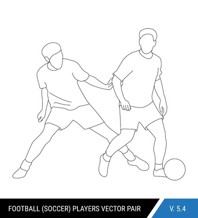 The soccer players fighting for the ball. Outline silhouettes, vector illustration. Football players in action. One player tries to take the ball from another.