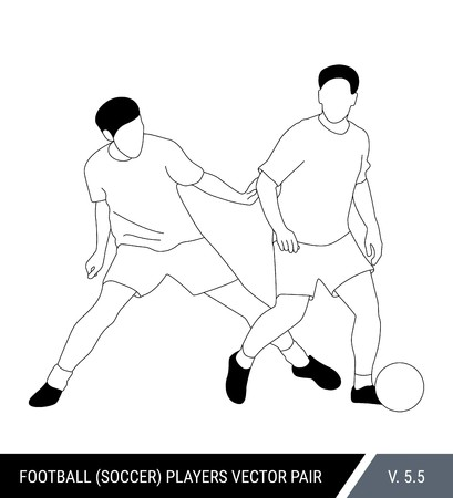 The soccer players fighting for the ball. Outline silhouettes, vector illustration. Football players in action. One player tries to take the ball from another. Stok Fotoğraf - 117266593