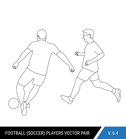 Two football opponents from different teams are fighting for the ball. Soccer players are fighting for the ball. Outline silhouettes, vector illustration. Can be used as a coloring books. Stok Fotoğraf - 122410490
