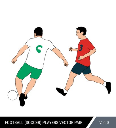 Two football opponents from different teams are fighting for the ball. Soccer players are fighting for the ball. Colorful vector illustration. Stok Fotoğraf - 117266602