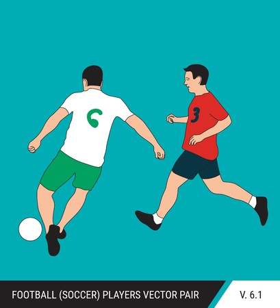 Two football opponents from different teams are fighting for the ball. Soccer players are fighting for the ball. Colorful vector illustration. Stok Fotoğraf - 117266603