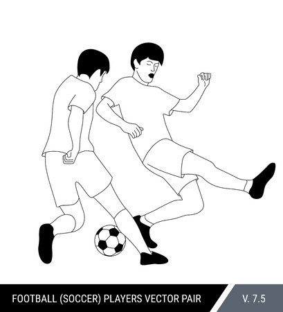 The soccer players fighting for the ball. Vector illustration. Football players in action. Outline silhouettes, vector illustration. Stok Fotoğraf - 117335694