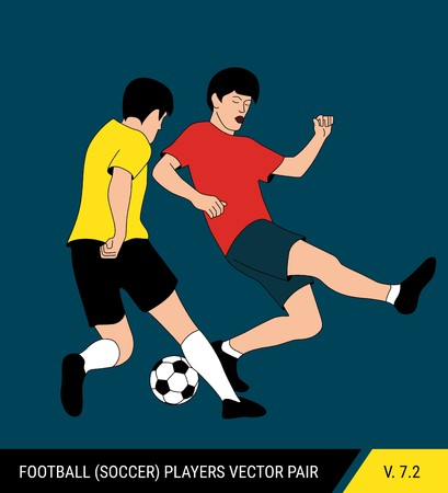 The soccer players fighting for the ball. Vector illustration. Football players in action. One player tries to take the ball from another. Çizim