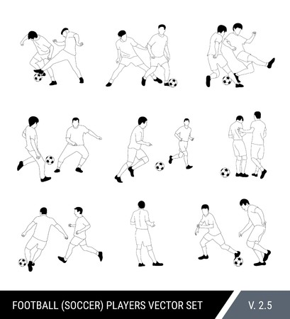 Football, soccer players outline vector set. Different poses of players, football players in motion: the struggle for the ball, the dispute of a football player with the judge, a trick, overtaking. Çizim