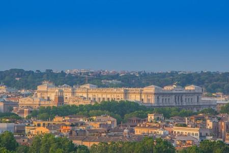 Top view of Supreme Court of Cassation in Rome (Italian: Corte Suprema di Cassazione). Beautiful view of building roman Court of Cassation, sunny evening. Aerial panoramic cityscape of Rome, Italy.