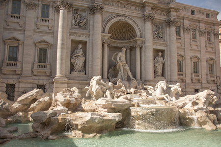 The Trevi Fontain by day (Fontana di Trevi), at the piazza di Trevi. Trevi is most famous fountain of Rome. Architecture and landmark of Rome, Italy.