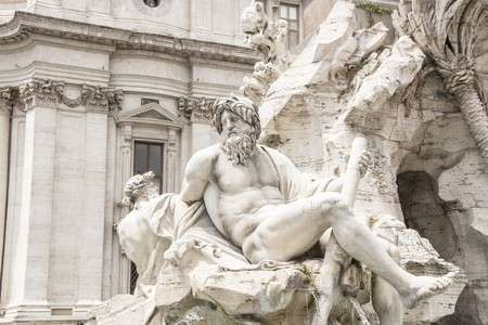 Detail of the Fountain of the Four Rivers (Fontana dei Quattro Fiumi) in Piazza Navona, Rome, Italy. Work by Gian Lorenzo Bernini. Reklamní fotografie